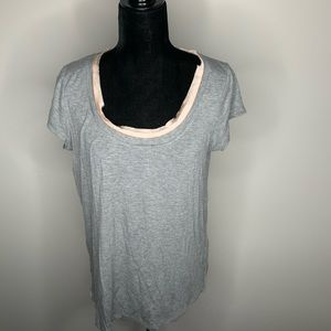 Bordeaux Gray and Pink Short Sleeve Layered Tee S